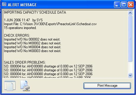 Import Transfer Alert Message