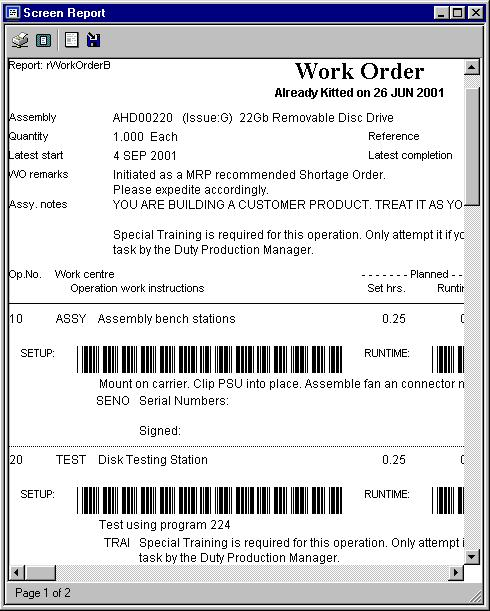 Barcode Work Order - Printed using rWorkOrderB