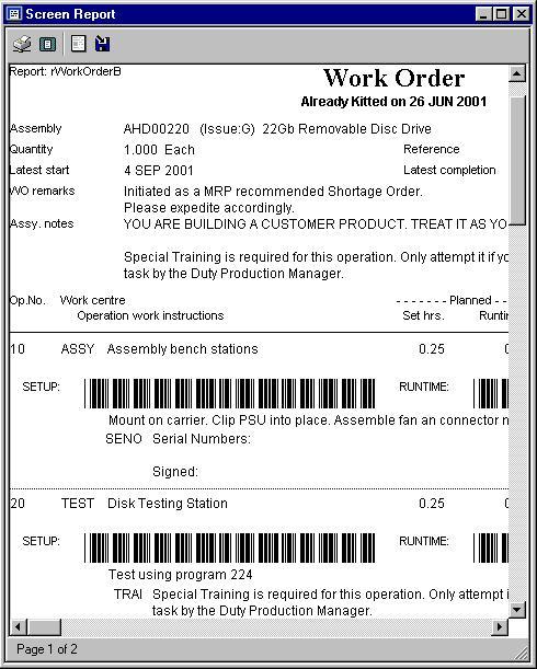 Barcode Work Order - Printed using rWorkOrderB