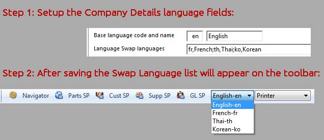 Language Swap Setup illustration.