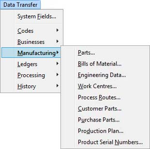 Manufacturing Menu