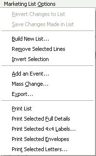 Marketing List Options Menu