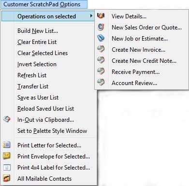 Customers ScratchPad Options Menu