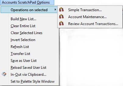 Ledgers ScratchPad Options Menu