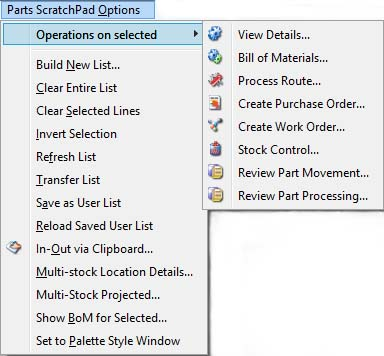 Parts ScratchPad Options Menu