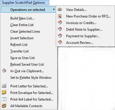 Suppliers ScratchPad Options Menu