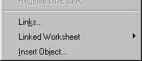 OLE Edit Menu functions