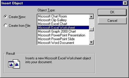 Insert Object Create New dialog
