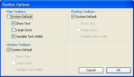 Toolbar Control options.