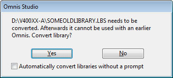 Library conversion confirmation dialogue.