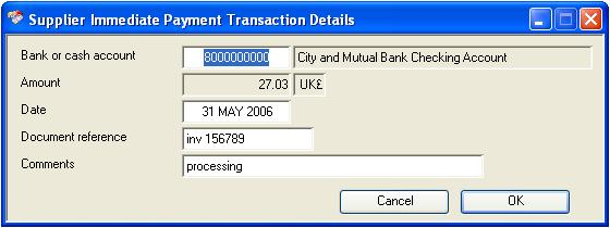Supplier Immediate Payment Transaction Details