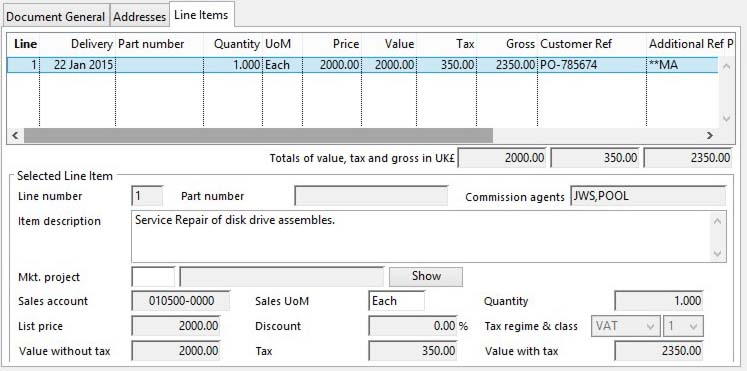 Invoice and Credit Note Change and Create - Line Items pane