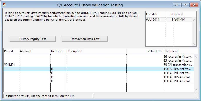 G/L Account History Validation Testing