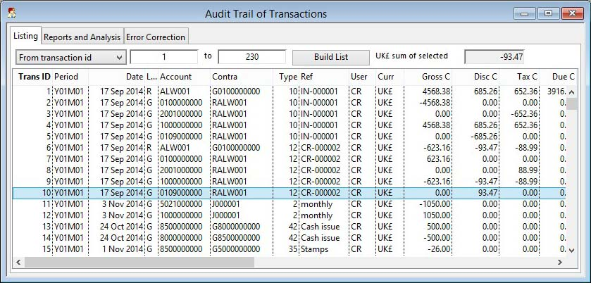 Audit Trail of Transactions - Listing pane