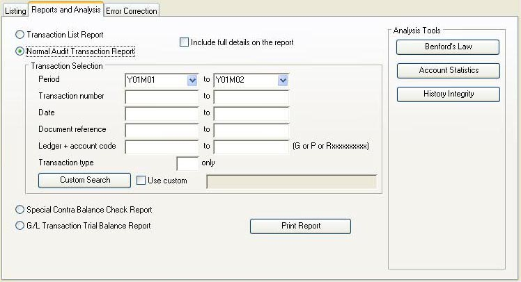 Audit Trail of Transactions - Reports and Analysis pane