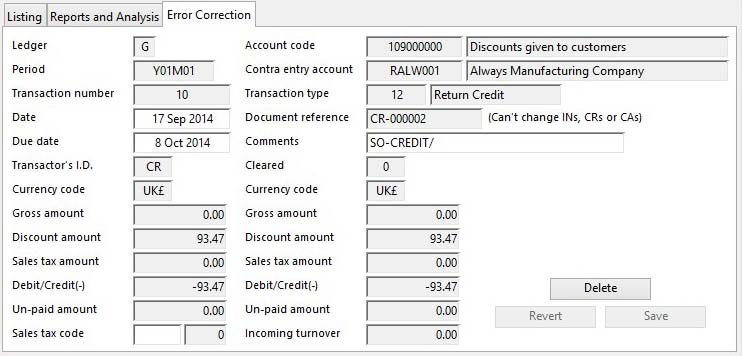 Audit Trail of Transactions - Error Correction pane