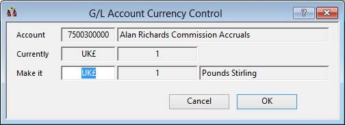G/L Account Currency Control