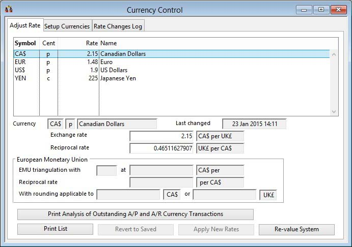 Currency Control - Adjust Rate pane