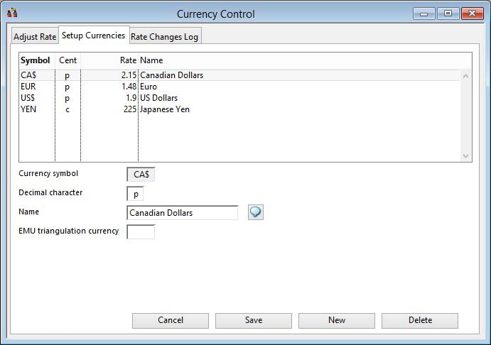 Currency Control - Setup Currencies pane
