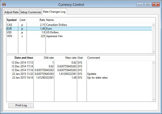 Currency Control - Rate Changes Log pane