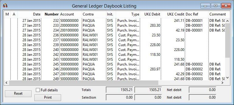 Daybook Transaction Listing