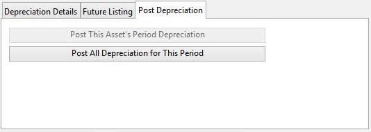 Asset Register Maintenance - Post Depreciation pane