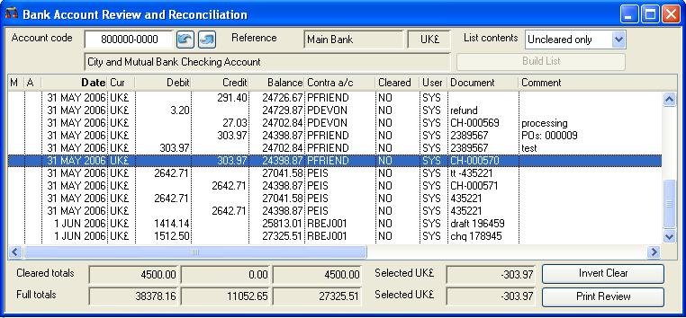 Bank Account Review and Reconciliation