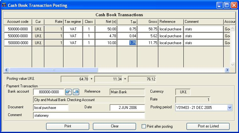 Cash Book Transaction Posting