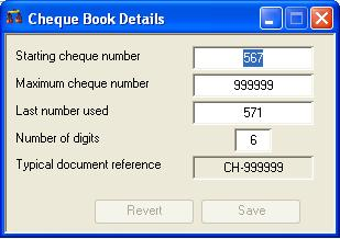 Cheque Book Details
