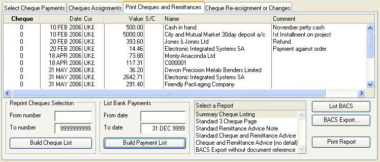 Bank Cheque Review and Printing - Print Cheques pane