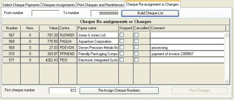 Bank Cheque Review and Printing - Cheque Re-assignment or Changes pane