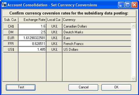 Account Consolidation - Set Currency Conversions