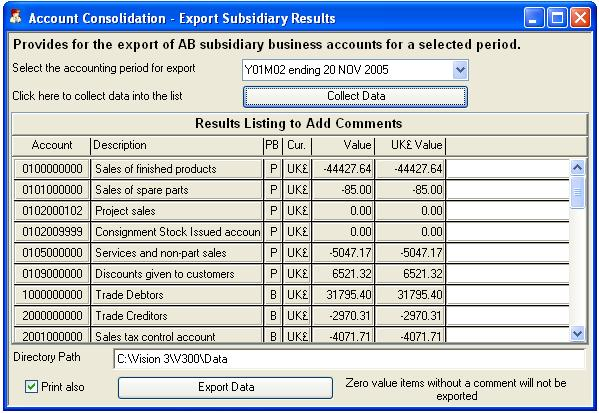 Account Consolidation - Export Subsidiary Results