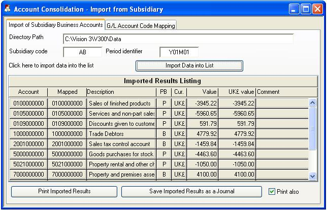 Account Consolidation - Import from Subsidiary - Import of Subsidiary Business Accounts pane