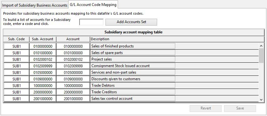 Account Consolidation - Import from Subsidiary - G/L Account Code Mapping pane