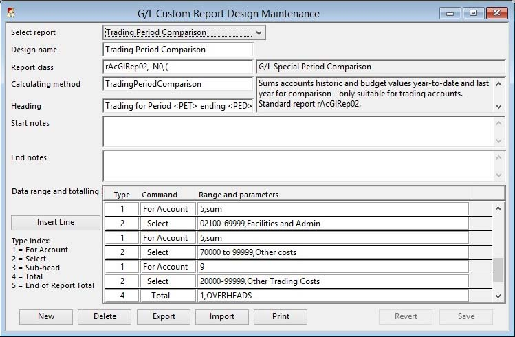 G/L Custom Report Design Maintenance