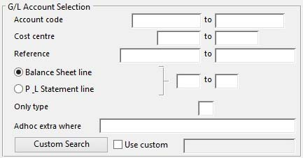 General Ledger Account Selection