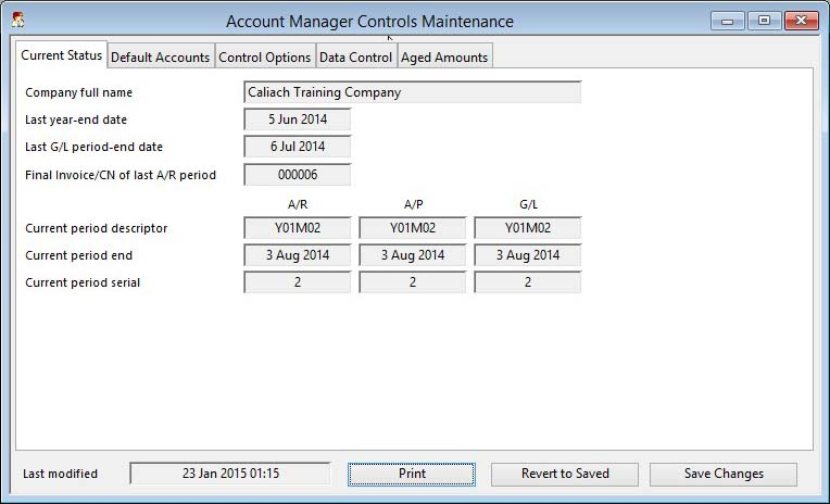 Account Manager Controls Maintenance - Current Status pane