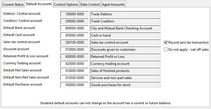 Account Manager Controls Maintenance - Default Accounts pane