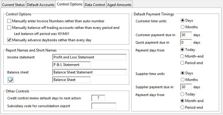 Account Manager Controls Maintenance - Control Options