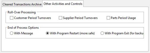 Month-End Processing - Other Activities and Controls pane