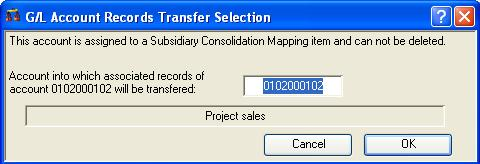 G/L Account Records Transfer Selection