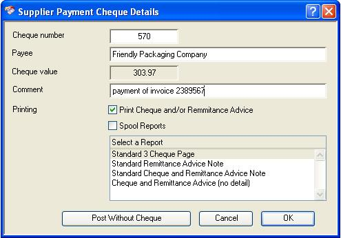 Supplier Payment Cheque Details