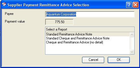 Supplier Payment Remittance Advice Selection