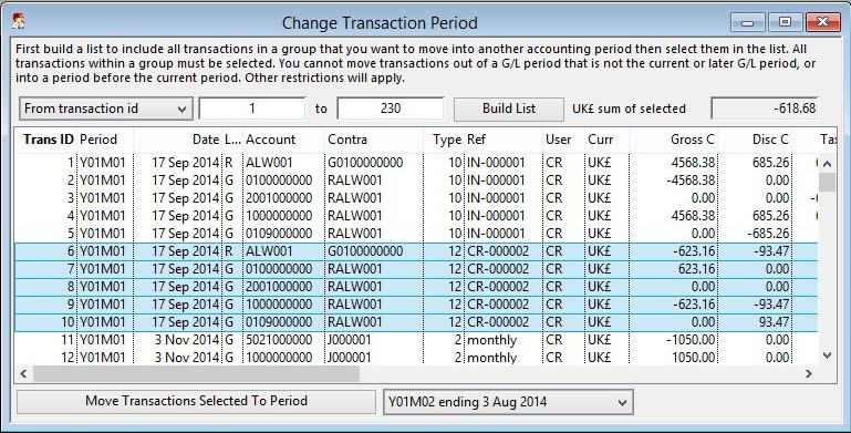 Change Transaction Period