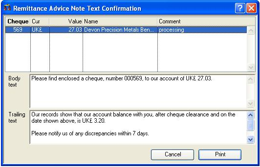 Remittance Advice Note Text Confirmation