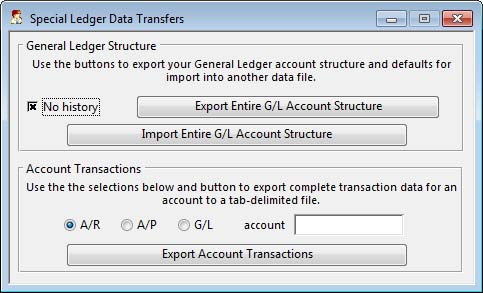 Special Ledger Data Transfers