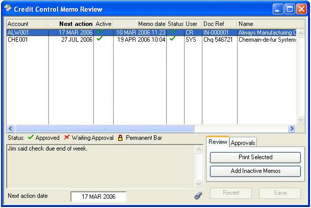 Credit Control Memo Review with Review tab pane
