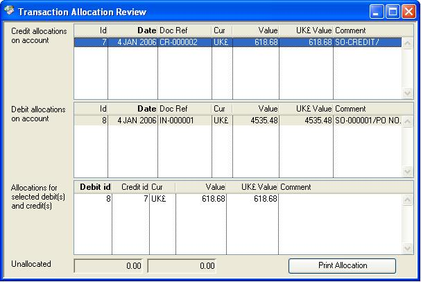Transaction Allocation Review