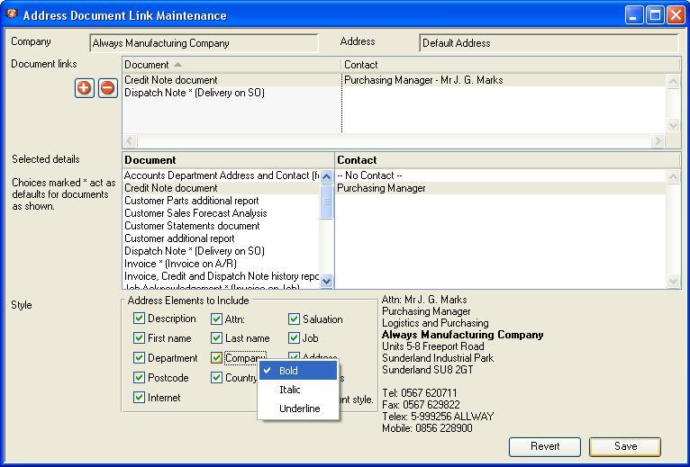 Address Document Link Maintenance